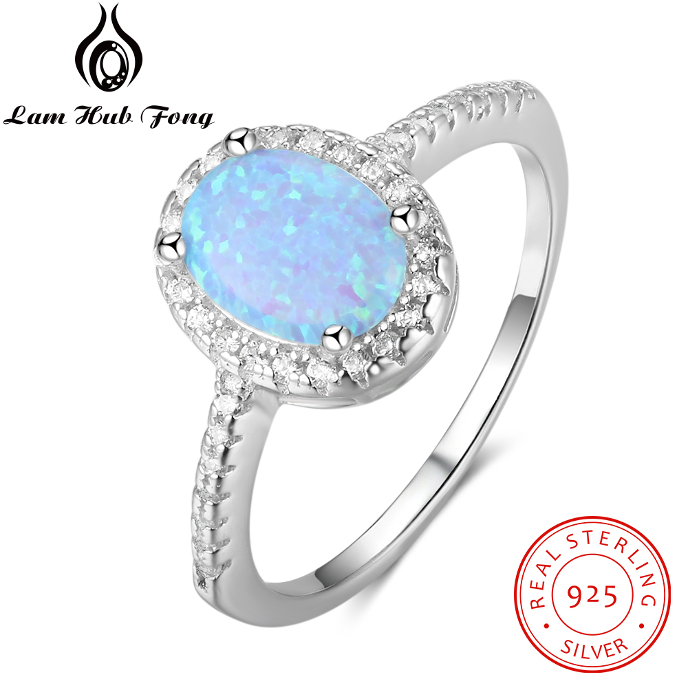 Promise 925 Sterling Silver Ring Blue Opal Stone With For Women Valentine's Day Romantic Gift(Lam Hub Fong)