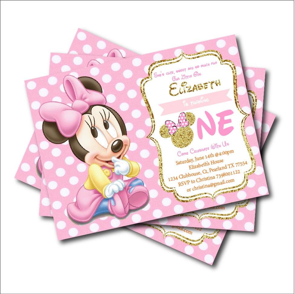 14 Pcs Lot Minnie Mouse Birthday Invitations For Kids Mickey Minnie