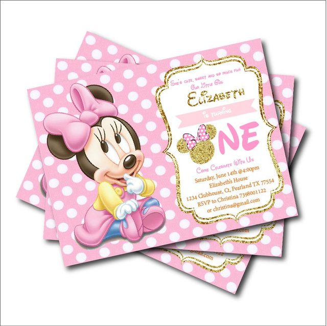 20 Pcs Lot Minnie Mouse Birthday Invitations For Kids Mickey Baby Shower Invites Party Decoration Supplier Print