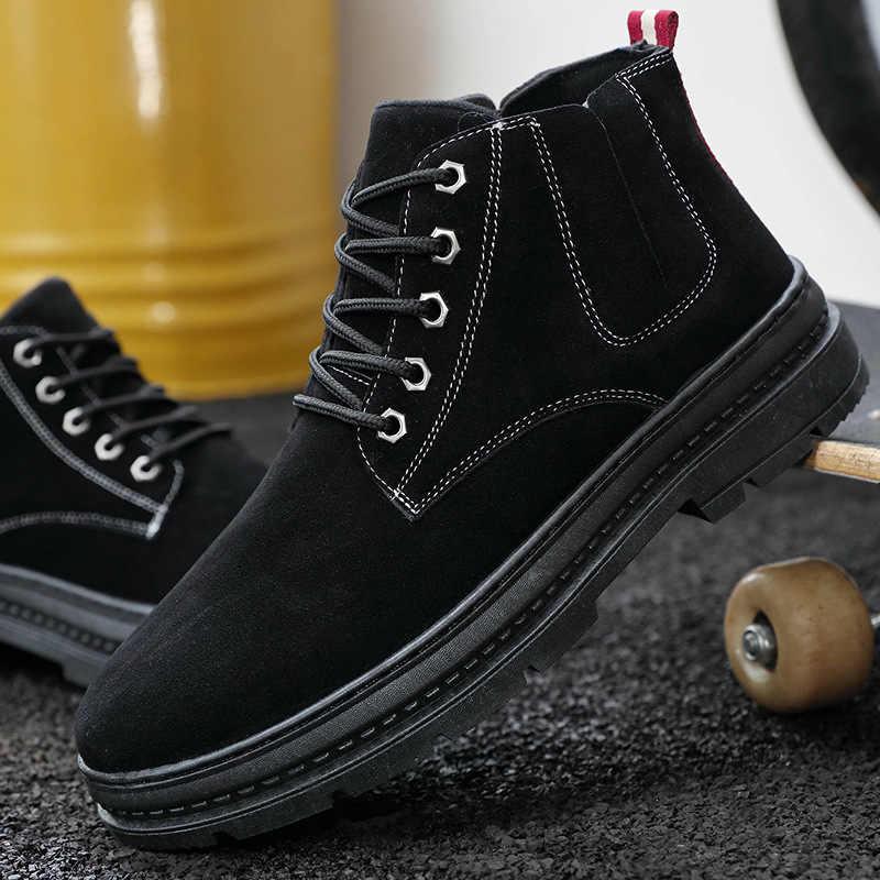 Yüksek Kaliteli Sonbahar Moda Yuvarlak Sonbahar Erkek Botları Kış Su Geçirmez yarım çizmeler Martin Çizmeler Açık iş çizmeleri erkek ayakkabısı