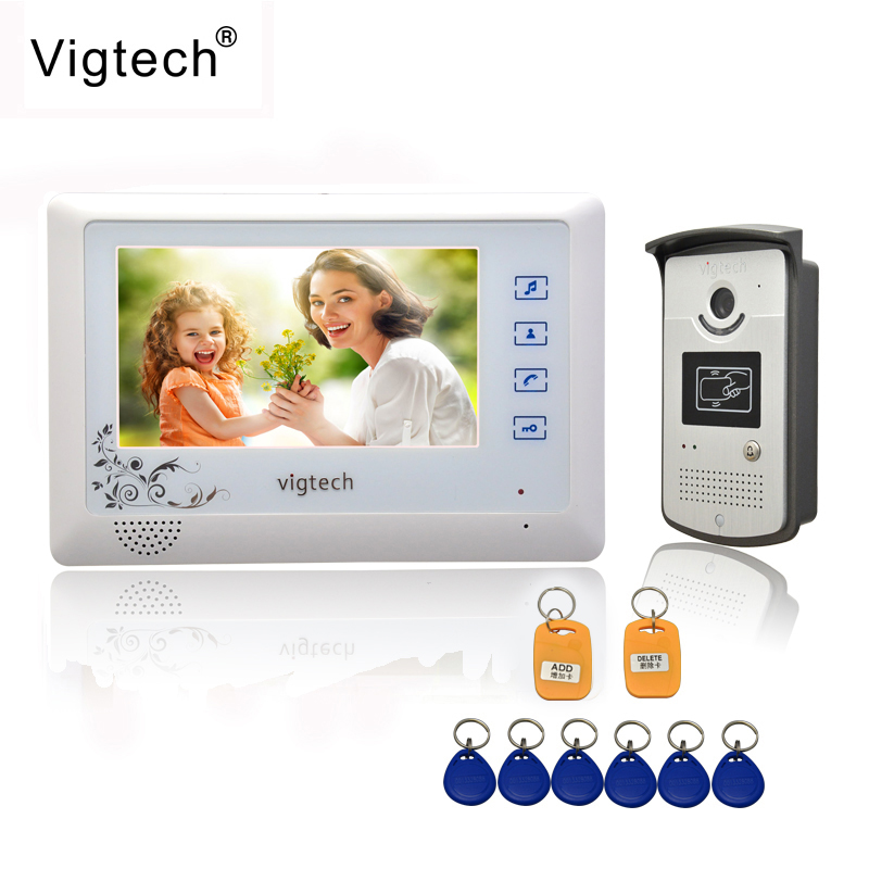 Vigtech Home 7 Video Intercom Door Phone System With 1 golden Monitor 1 RFID Card Reader HD Doorbell Camera FREE SHIPPING