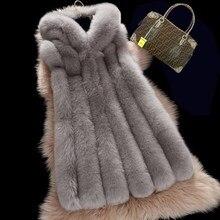 High Quality Fashion New Autumn Winter Faux Fox Fur Vest Long Sleeveless Fur Jacket Coat Plus