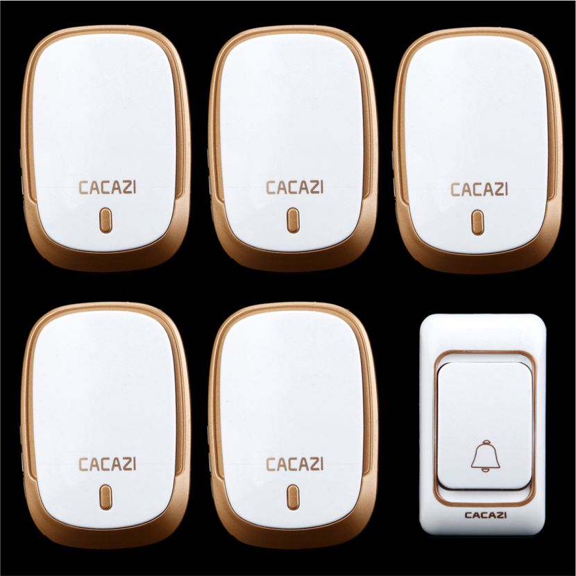 Wireless DoorBell 1 transmitter+5 receiver home 200M remote control digital AC 110-220V Wireless doorchime with 36 Chimes fk 0011dc digital doorbell with wireless remote control function for homes offices factories restaurants and so on