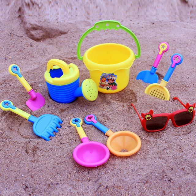 Baño De Juguete de Baño de goma Corrió 5-7 Años de Juego de Arena de Herramientas De Plástico Juguetes de goma 2016 Nuevo Al Aire Libre 9 Unids/set Playa Juego Para niños