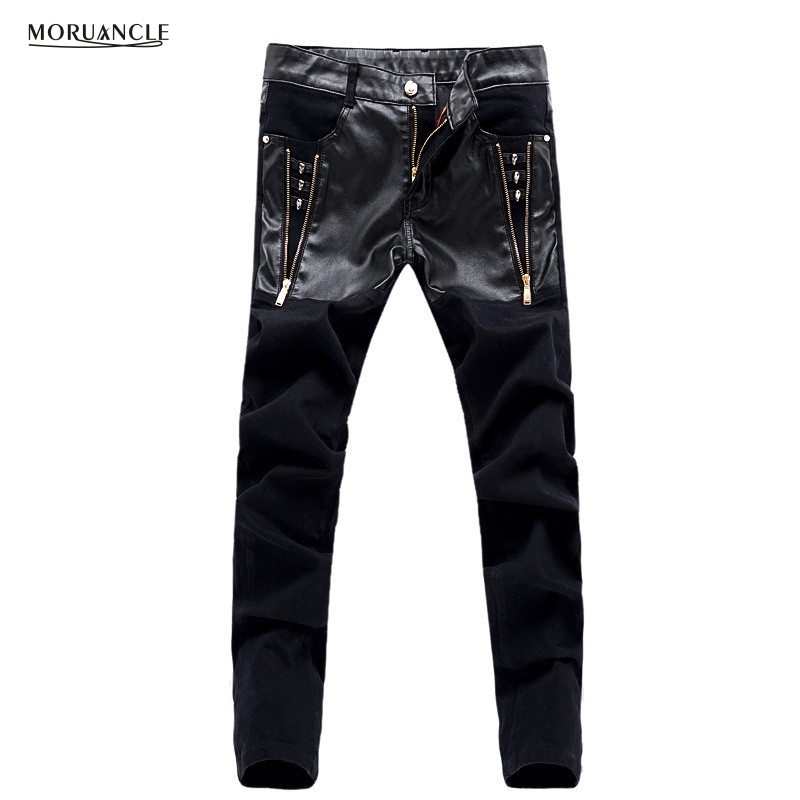 MORUANCLE Fashion Punk Style Mens Skinny Jeans Pants Leather Patchwork Denim Trousers For Male Gold Zipper Black
