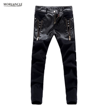 MORUANCLE Fashion Punk Style Men's Skinny Jeans Pants Leather Patchwork Denim Trousers For Male Gold Zipper Black
