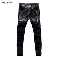 MORUANCLE Moda Punk Stil erkek Skinny Jeans Pantolon Deri Patchwork Denim Pantolon Erkek Altın Fermuar Siyah Için