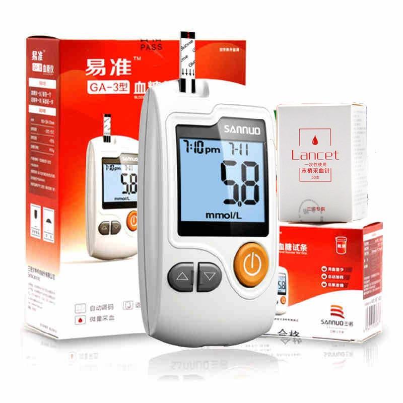 SANNUO YIZHUN Измерватели на кръвна глюкоза с 50бр. Ленти + 50бр. Игли и ланцети глюкометър за откриване на захар в кръвта диабетици