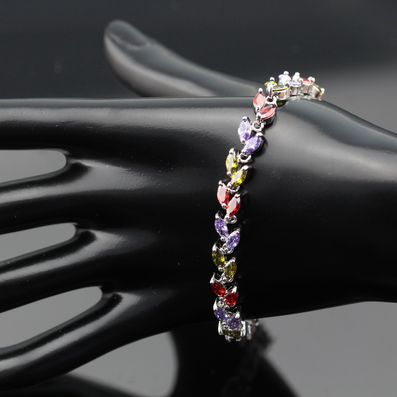 LAN высокое качество ленты посадили ювелирные изделия многоцветный и розовый AAA циркон для Для женщин браслет для свадьбы/birrthday/Обручение/ по...