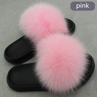 New women slippers fox fur ladies home plush slides house flip flops indoor furry shoes big size 45