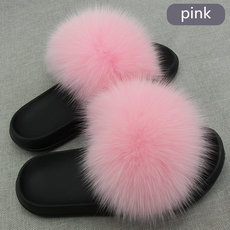 New women slippers fox fur ladies home plush slides house flip flops indoor furry shoes big size 45New women slippers fox fur ladies home plush slides house flip flops indoor furry shoes big size 45
