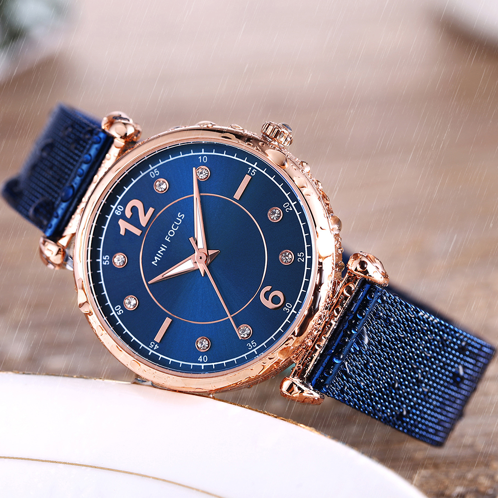 2018 MINI FOCUS Ladies Quartz Watch Women Watches Brand Luxury Stainless Steel Strap Diamond Female Wrist Watch Gold Blue Clock
