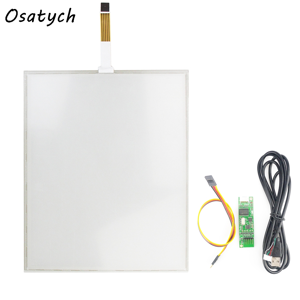 New 5 Wire 15 Inch USB Touch Screen+USB Controller Board 322*247mm 247*322mm Glass Panel Resistive Industrial USB Touch Glass