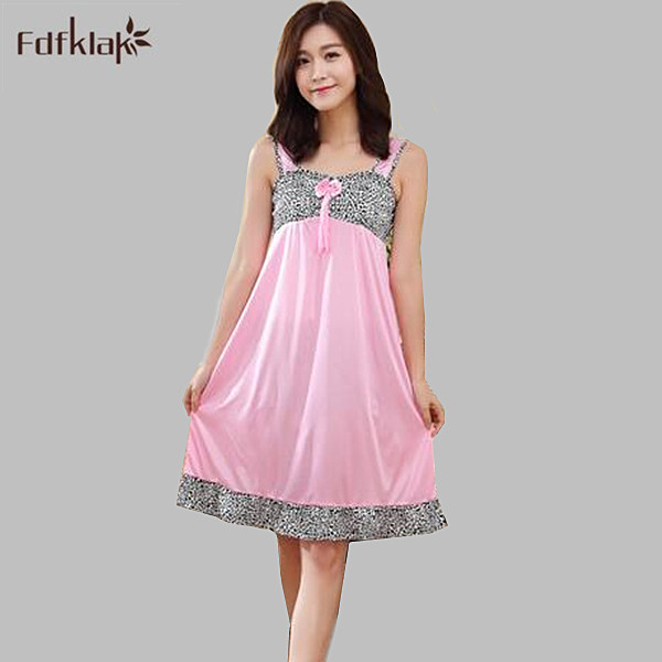 Nightgowns   silk women sleepwear night dress 2017 new sexy summer patchwork spaghetti strap   sleepshirt     nightgown   female A451