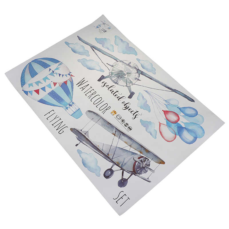 المائية طائرة منطاد الهواء الساخن الجدار ملصق الاطفال الطفل غرف المنزل الديكور PVC جدارية الشارات المنزل ملصقات خلفيات