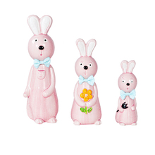 1Set/3PC Europe Style Family Ceramic Cute Rabbits Figurine Creative Doll Decoration Model Home Accessories Craft Gift