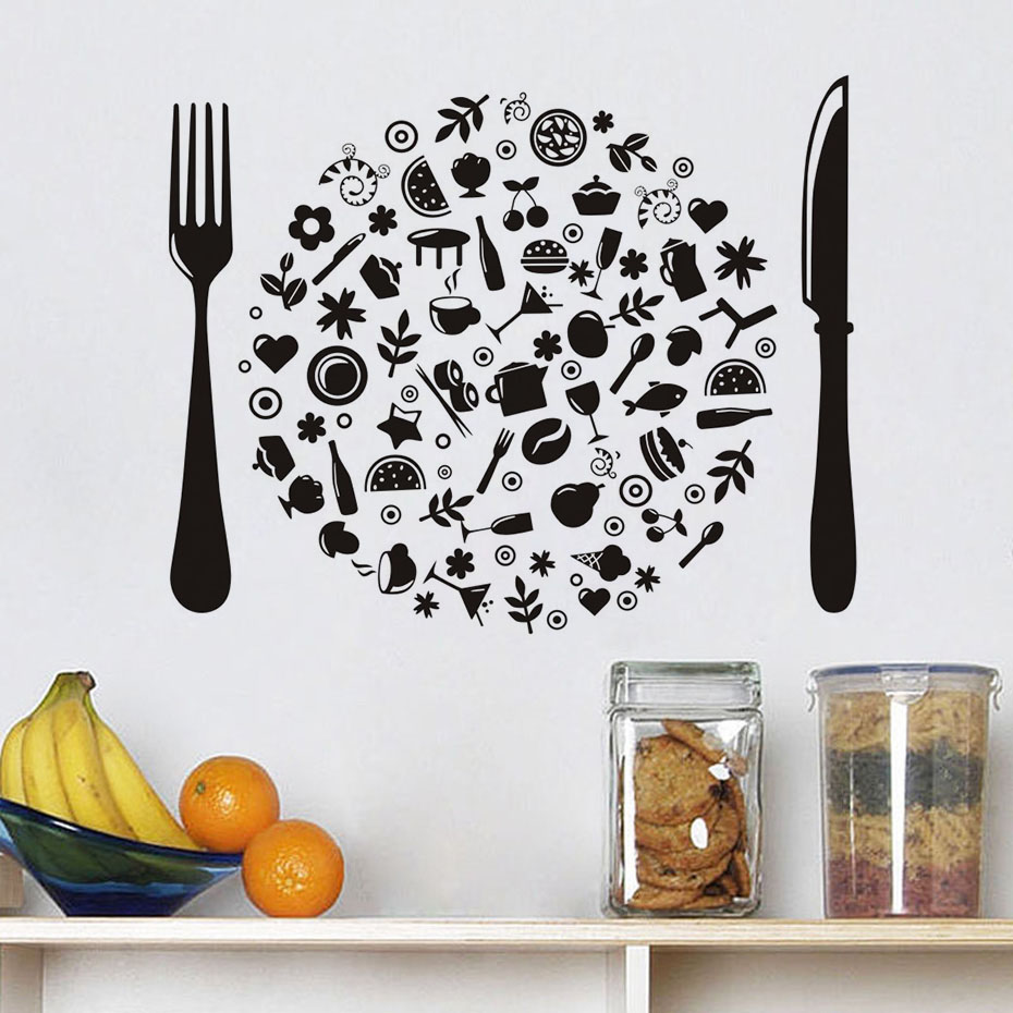 Black Knife And Fork Wall Sticker Vinyl Cutlery Diy Handmade Shop Windows Stickers Decoration For Kitchen Room Dinning Tile