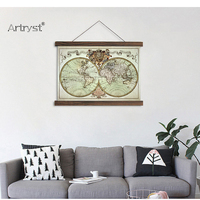 Scroll painting canvas modern artworks home decoration copper plate style antique world map HD Printed picture wall art decor