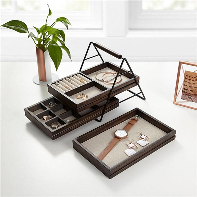 Européenne en bois rack de stockage de bijoux, multi-couche simple creative boîte à bijoux, boucles d'oreilles anneau bijoux présentoir