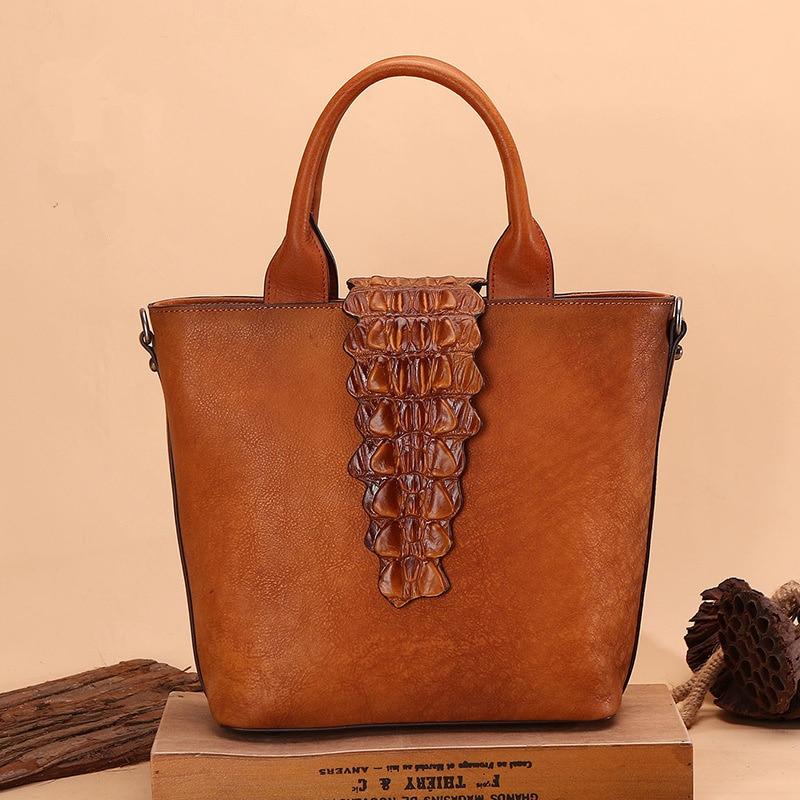 Design Woman Handmade Vintage Genuine Leather Handbag Ladies Retro Shoulder Messenger Bag Cow Leather Hand printed