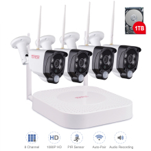 1080P 8CH NVR Wireless CCTV System 1TB HDD Outdoor Weatherproof 2MP 4 Security IP Cameras PIR Sensor Surveillance Kit Tonton