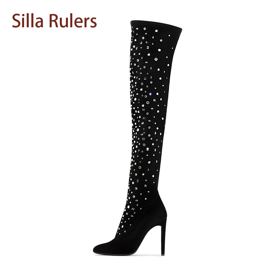 Silla Rulers Fashion Crystal Stud Women Thigh High Boots Velvet Pointed Toe Thin Heel Sexy Lady Party Shoe Zipper Over Knee Boot jialuowei women sexy fashion shoes lace up knee high thin high heel platform thigh high boots pointed stiletto zip leather boots