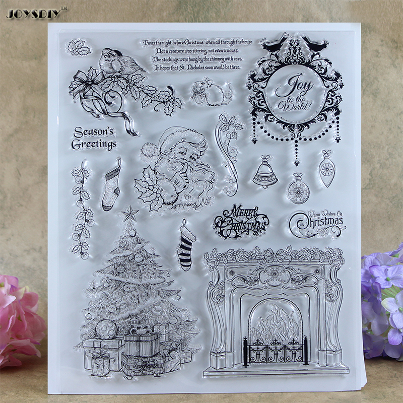 Joy Merry Christmas Series  Scrapbook DIY photo cards account rubber stamp clear stamp transparent stamp card Stamper 21*24CM