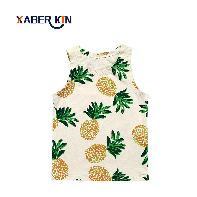 Xaber Kin Sleeveless Baby Girls T-shirts 2017 Summer Style Newborn Baby Clothing 0-2 Years Baby Boys Shirts Clothing