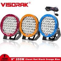 VISORAK 9 225W LED Work Light Bar 12V 24V Spot Flood IP68 Offroad LED Bar For Jeep 4WD 4x4 Truck Trailer SUV ATV Boat LED Beams