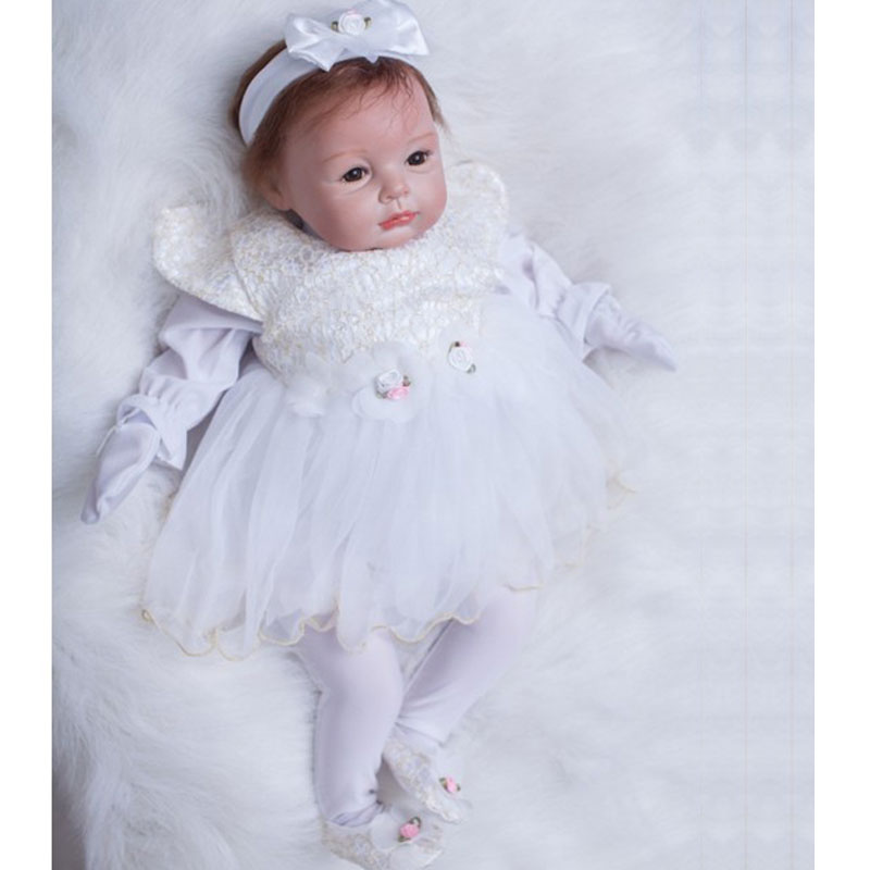 Bebe Reborn Doll 22inch Silicone Reborn Girl Baby Doll Toys 55cm Newborn Lifelike Realista For Girl Babies Gift Toys Brinquedos  fashion baby toys 55cm soft silicone reborn baby dolls 22inch bebe doll lifelike baby gift toys brinquedos newborn babies toys