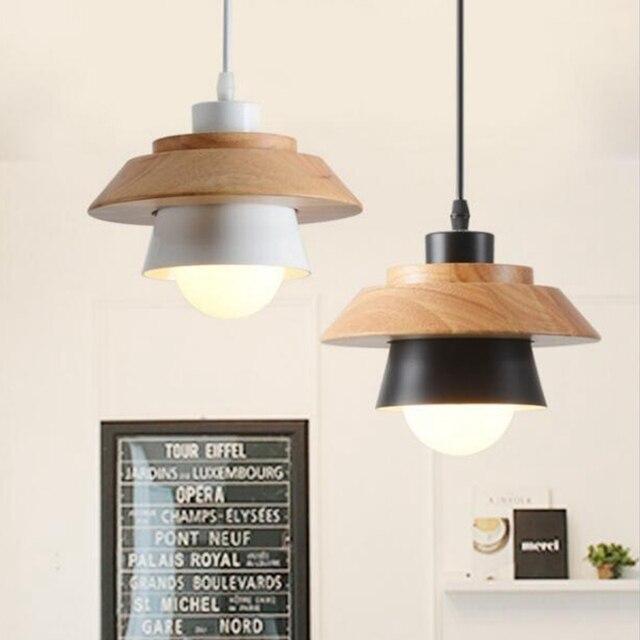 LukLoy Modern Pendant Lamp Light, Natural Simple Wooden Pendant Light Lighting Fixture for Loft Cafe Bar Living Room luminaire