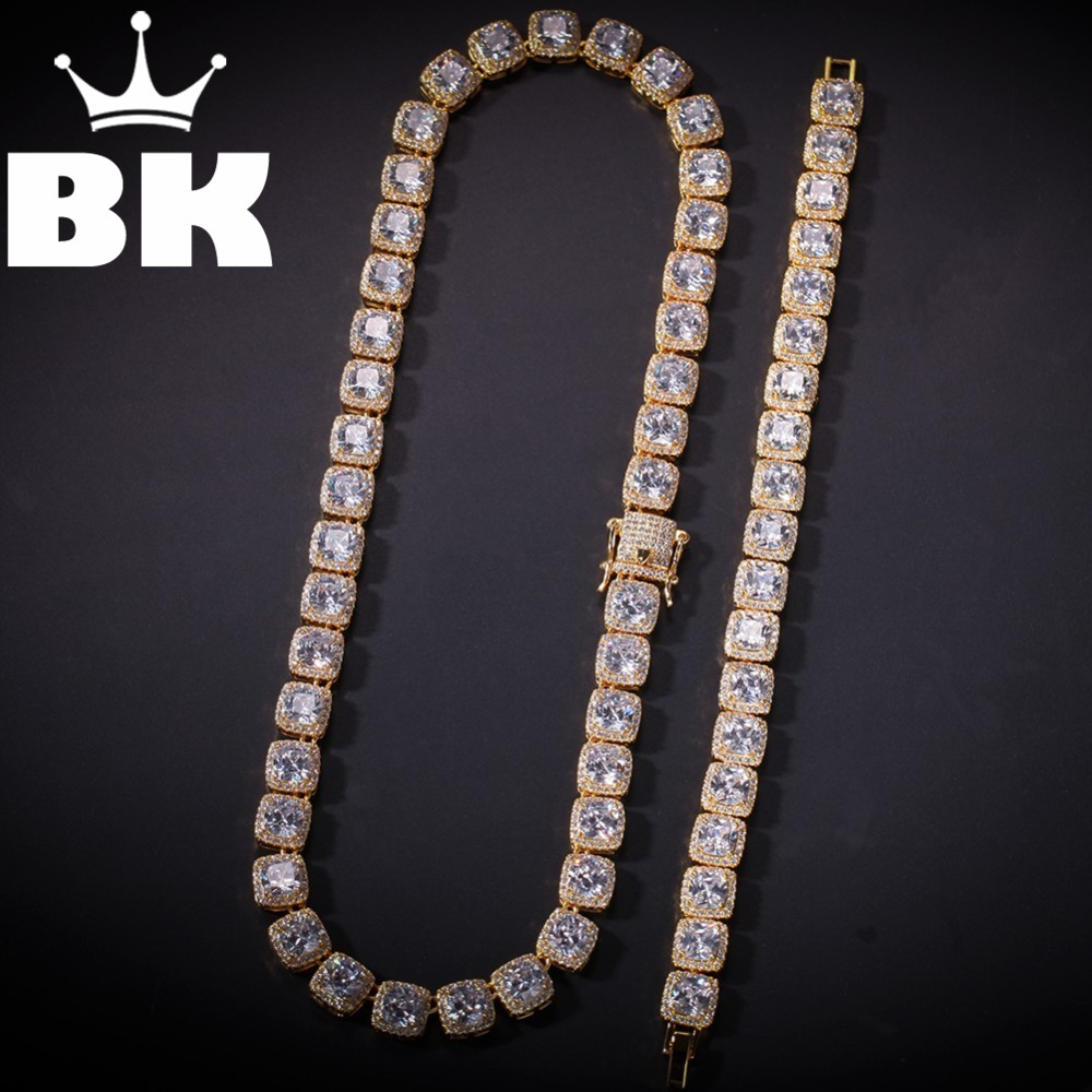 THE BLING KING 10mm Square CZ Chain Bracelet Set Gold Silver Color Hip Hop Micro Paved