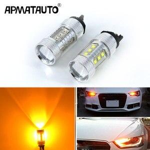 2x Янтарный желтый, белый 80 Вт Canbus PW24W PWY24W светодиодный фонарь для Audi A3 A4 A5 Q3 VW MK7 Golf CC Fusion передний указатель поворота