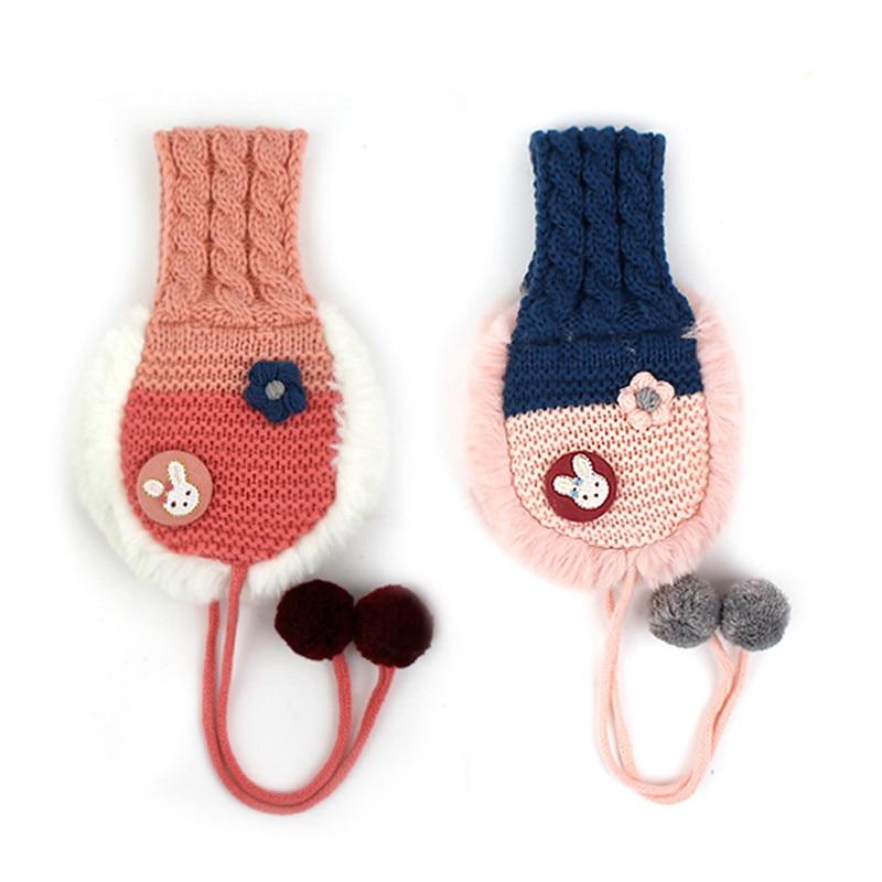 Korean Winghouse Children Earmuffs Cartoon Rabbit Cute Fur Ball Girl Ear Warm With Down Windproof Earmuffs Winter Headphones