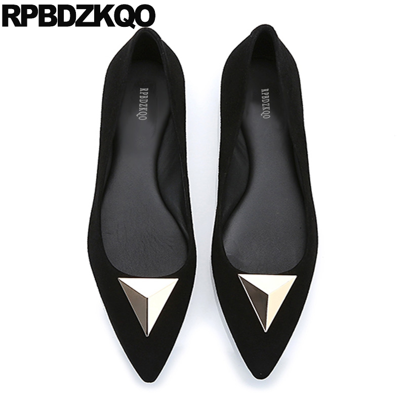 Detail Feedback Questions about Metal Spring Autumn Suede Slip On Women  Flats Work Ladies Beautiful Shoes Pointed Toe Office Black Size 35 Chinese  Drop ... 4206e7342ce8