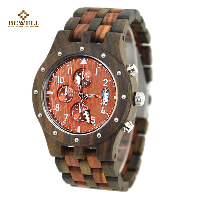 Luxury Brand BEWELL Male Watch with Wooden Fasion Wristwatches Casual Quartz Watches for Relogio Feminino Limited Edition 109D