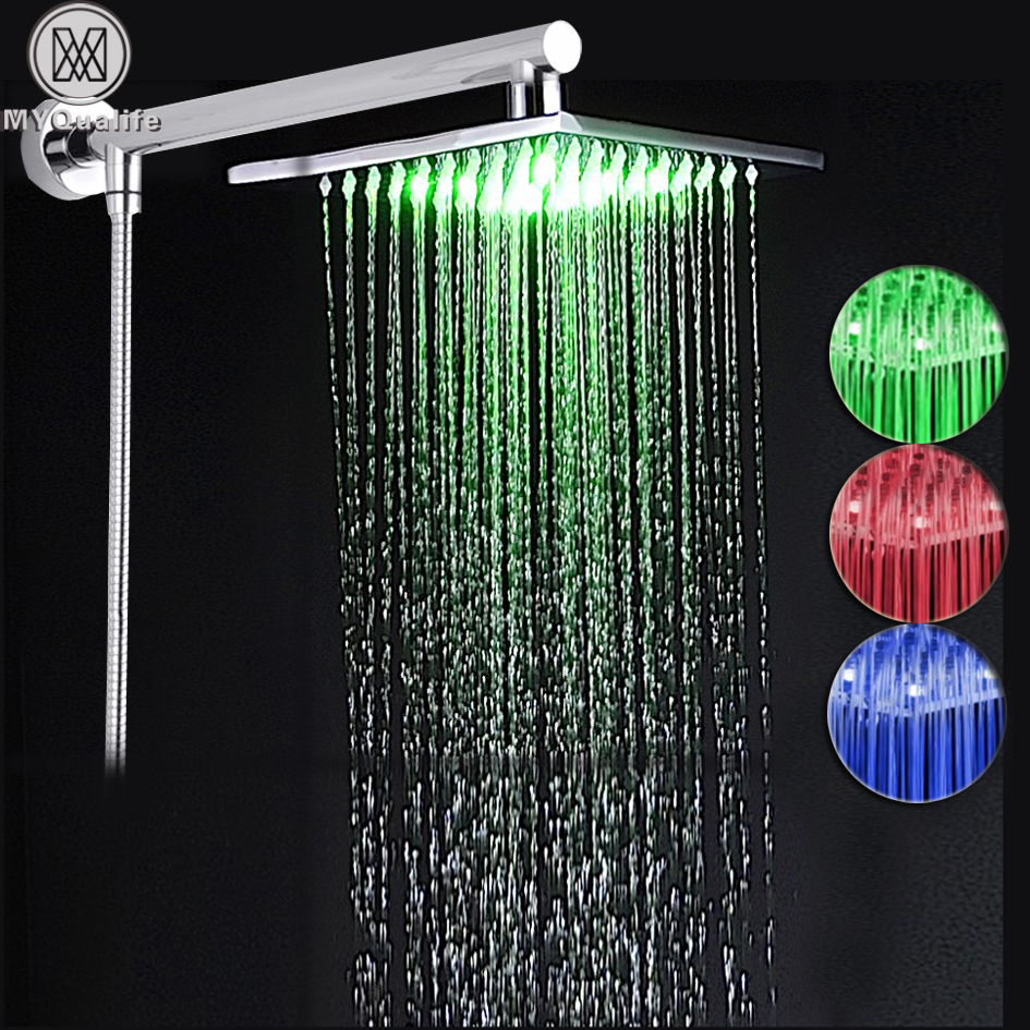 Wall Mount 8 LED Light Rain Shower Head Wall Mounted Brass Shower Arm 59 Shower Hose Chrome Finished