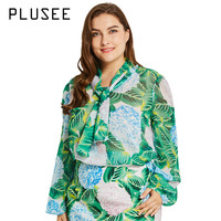 Plusee 2017 New Spring Fashion Chiffon Bow Blouse Stand Collar Long Sleeve Shirts Floral Blouse Plus