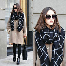 New Lady Women Blanket black white Plaid Cozy Checked Tartan Scarf Wraps shawl