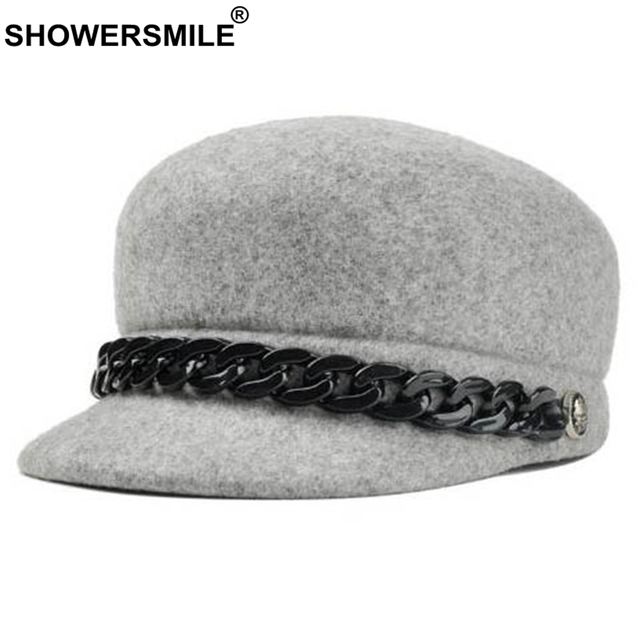 79821b8ee64 SHOWERSMILE Grey Fedora Hat Women Woolen Vintage Jazz Hat Men Casual  Classic Btitish Style Autumn Winter Caps And Hats Fashion
