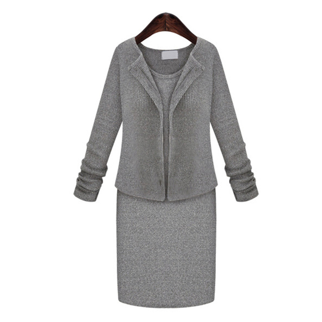 Spring New Style Round Neck Two-piece Slim Dresses Plus Size Women's Clothing Basic Dress Single-Breasted Cardigan Coat Sexy