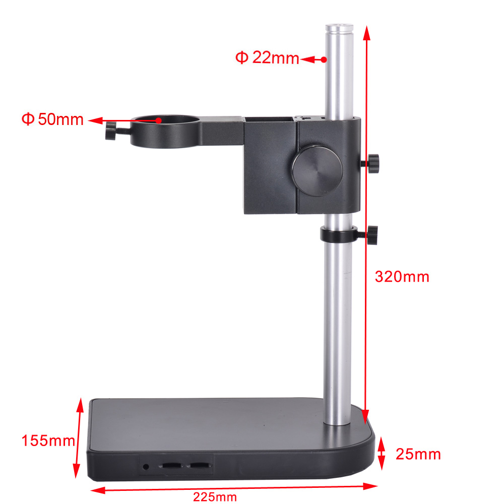 Portable Aluminum Alloy Microscope Stand Holder Microscope Camera Table Stand 50mm Ring Holder Gear Table Stand For 180X Lens