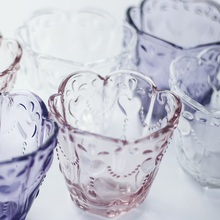 European style retro crystal relief glass Water Dessert cup mousse Fruit tea  Ice cream ice