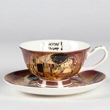 Österreich gemälde kuss malerei kaffee Tassen und Untertassen kreative qualität bone china tee tasse set Nachmittag becher flut keramik geschenke