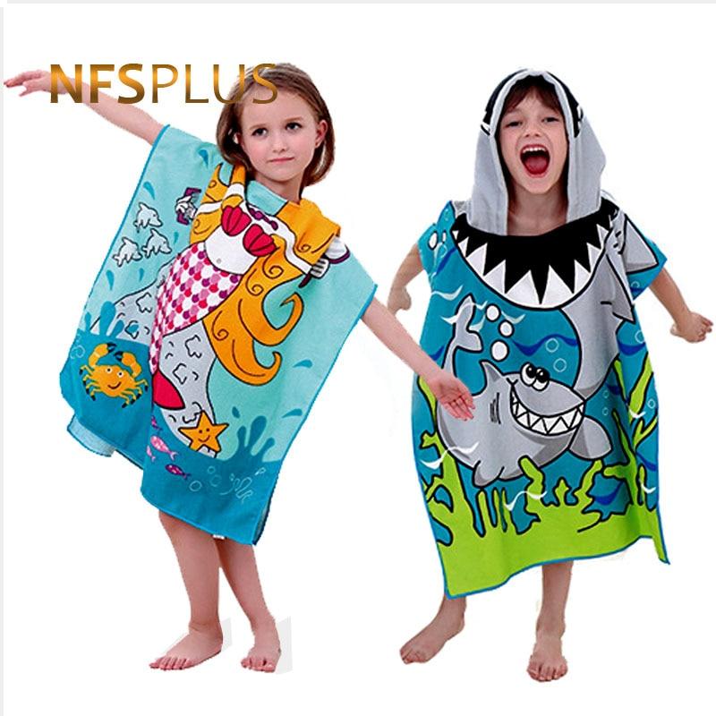Baby Hooded Bath Towel Poncho Children Kids Bathrobe Towels Bath Robe Quick Dry Absorbent Microfiber Travel