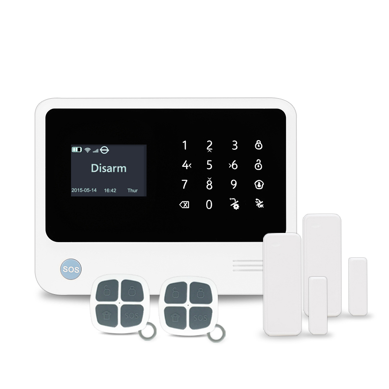 433MHz Support contact ID smart home wifi/gsm security alarm system work with Amazon Alexa echo dot smart home GSM alarm system 433mhz gsm wifi home alarm system touch lcd panel alarm system support doorbell function gsm wireles alarm system