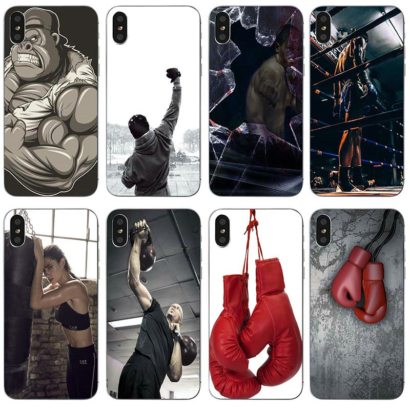 Boxing Gloves Boxing Soft TPU Mobile Phone Case Cover Coque Funda for iphone 4 4s 5c 5s 5 SE 6 6s 7 8 plus X XR XS Max Shell