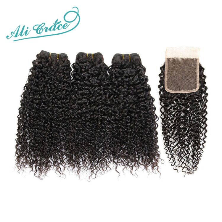 ALI GRACE Brazilian Kinky Curly Hair With Closure 3 Bundles With 4 4 Lace Closure Free