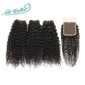 Image 1 - ALI GRACE brezilyalı Kinky kıvırcık saç kapatma ile 3 demetleri ile 4*4 dantel kapatma ücretsiz orta kısmı 100% remy saç kapatma