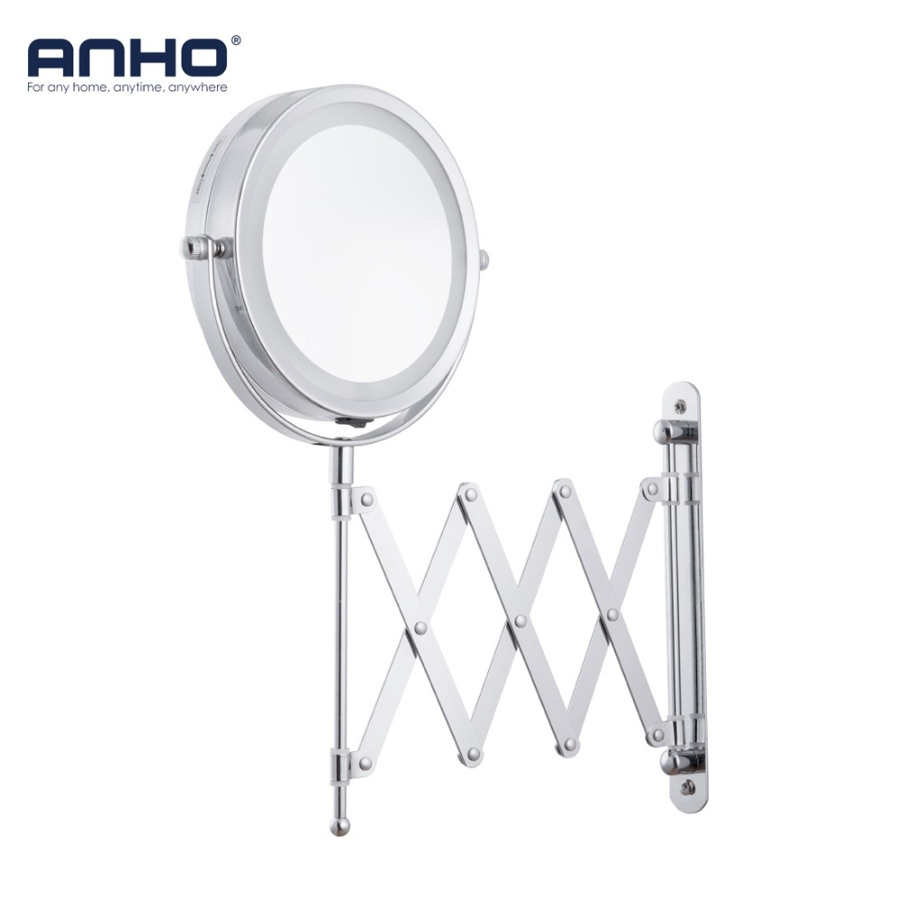 ANHO Bath Led Makeup Mirror 6 Inch 1X/5X Arm Magnification Wall Mounted Adjustable Cosmetic Mirror Dual Arm Extend 2-Face Mirror new fashion 6 inches led bathroom mirror dual arm extend 2 face metal makeup mirror 5x magnifying wall mounted extending folding